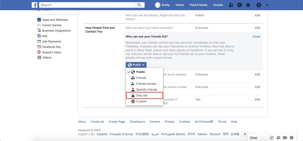 "facebook ""how people can find you"" dropdown tab"