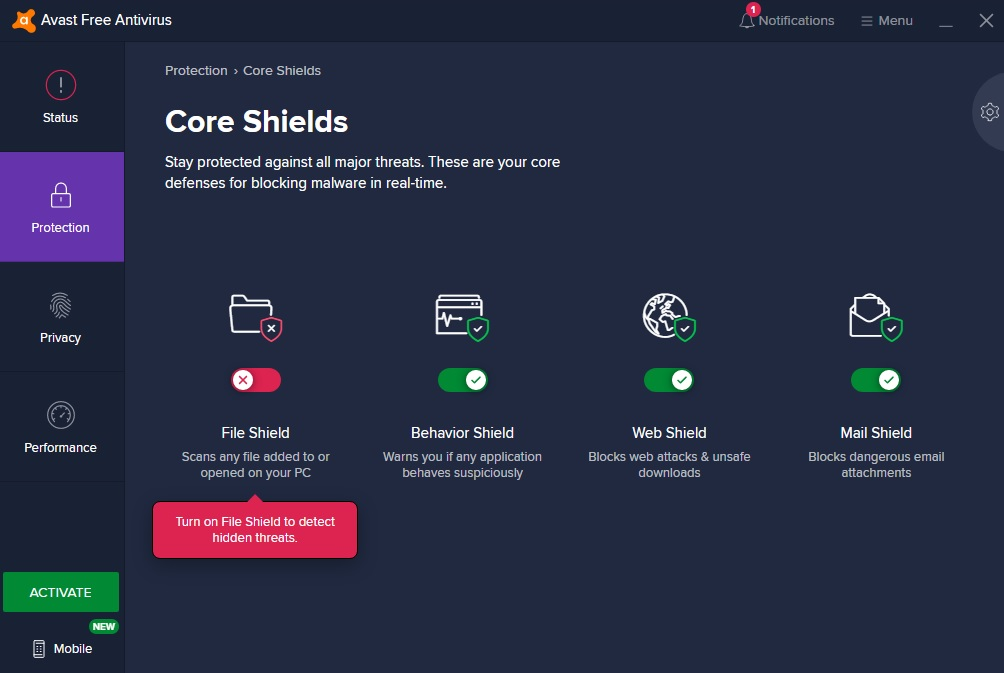 Disabled avast core shields screen