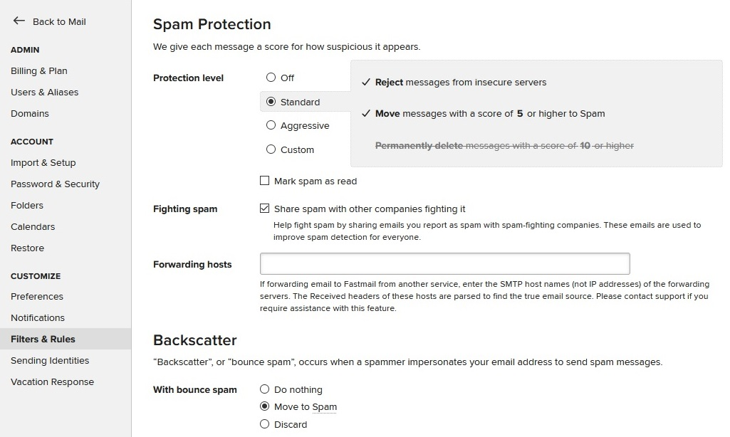 fastmail spam protection