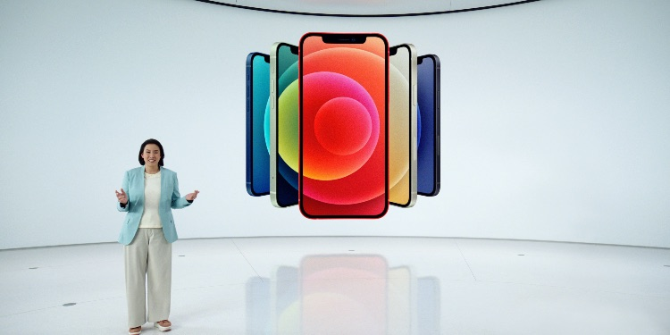 pple's vice president of iPhone Product Marketing Kaiann Drance unveils the all-new iPhone 12 at a special event at Apple Park in Cupertino, California, U.S. in a still image from video released October 13, 2020.