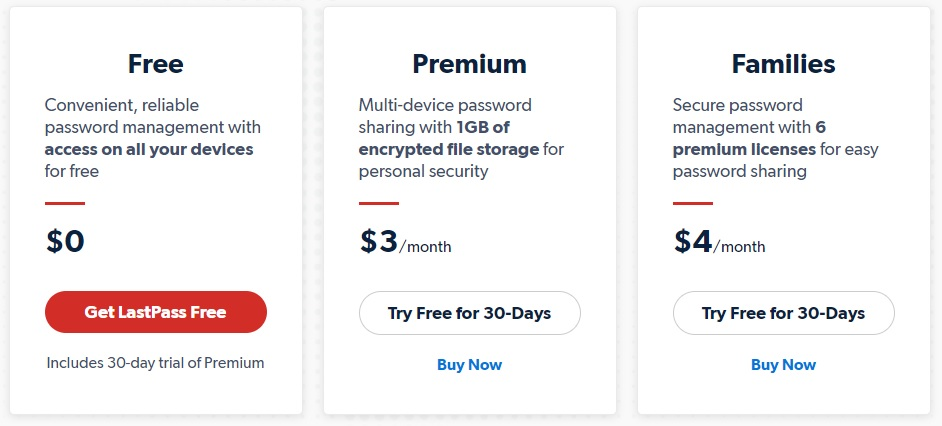 LastPass pricing options