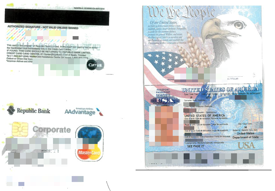 Sample of credit card with CVV and passport scan
