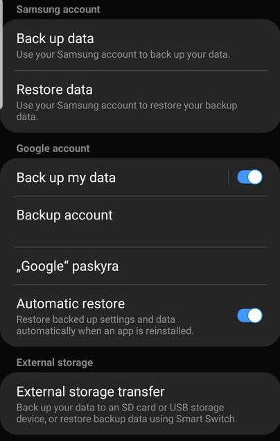 Android reset settings