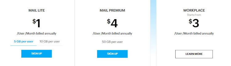 Zoho Mail pricing options