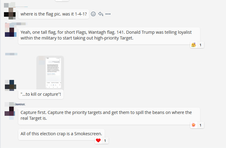 Screenshot of a discussion in a QAnon group on MeWe