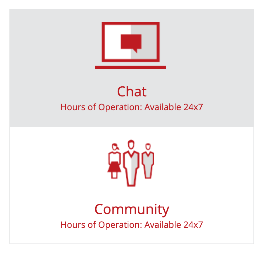 McAfee website customer support interface