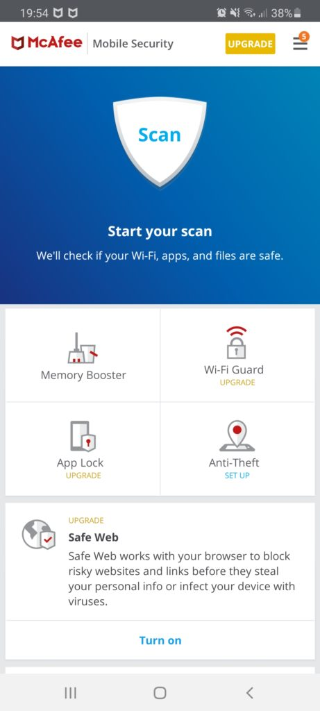 McAfee mobile app interface