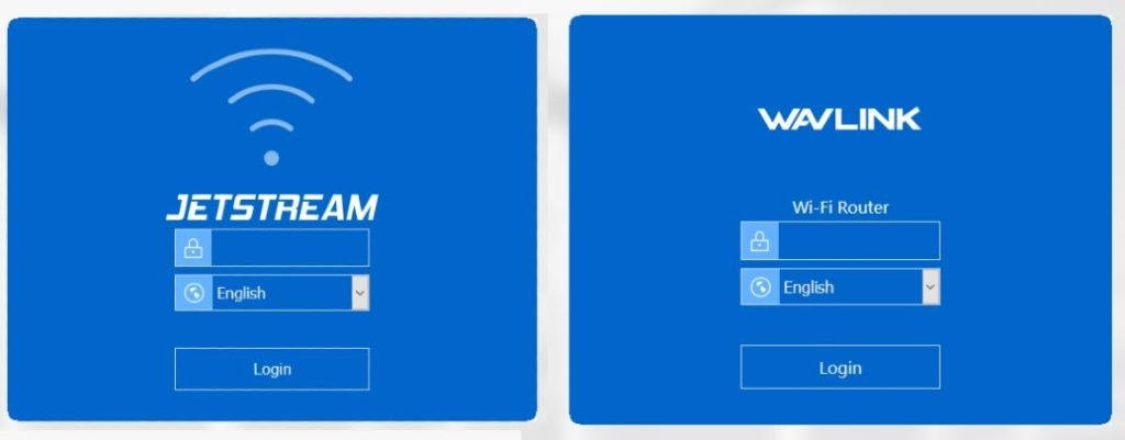 Comparison of login pages for Jetstream and Wavlink routers