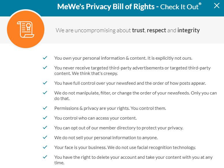 MeWe's privacy bill of rights