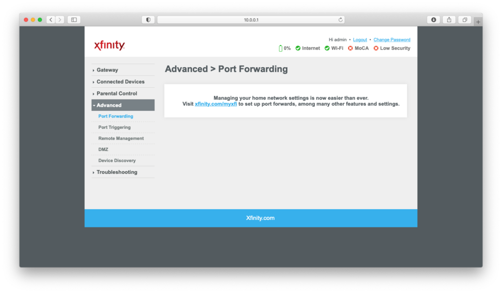Interface of Port Forwarding section on Xfinity (Comcast) router configuration page