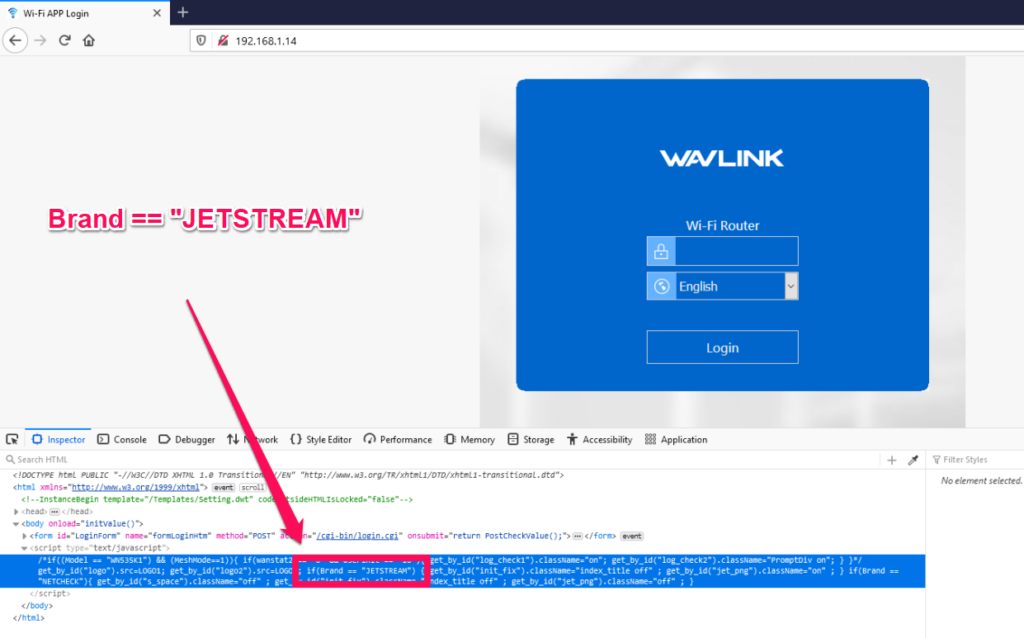 """Brand """"Jetstream"""" included in the source code on Wavlink's router login page"""