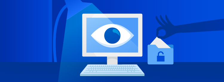 Computer screen with eye spying