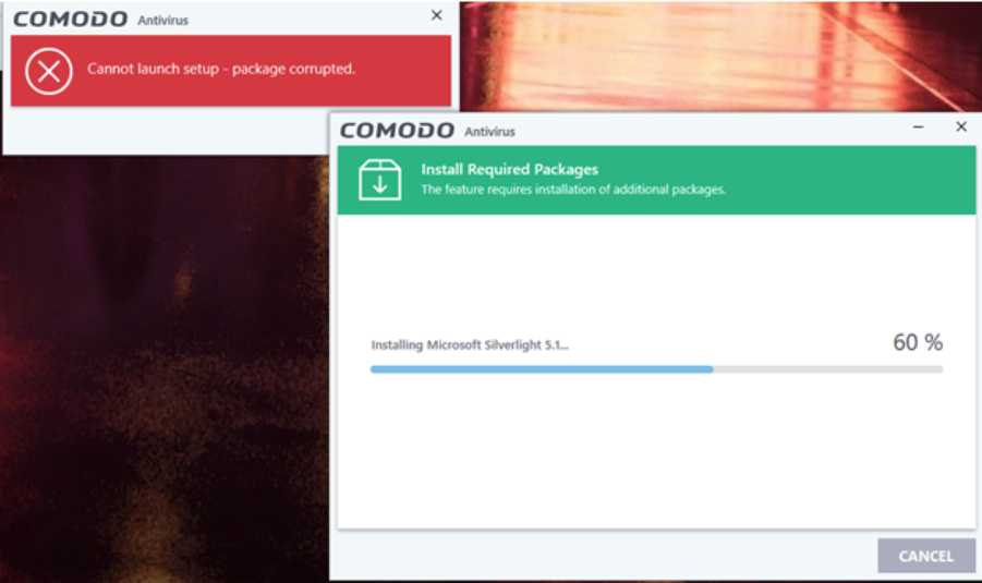 Package corrupted error during Comodo installation