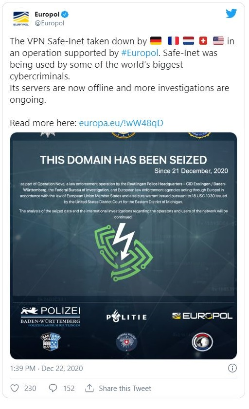 Europol tweet screenshot