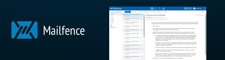 Mailfence interface in smart devices