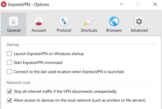 ExpressVPN settings