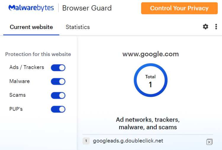 Browser guard features