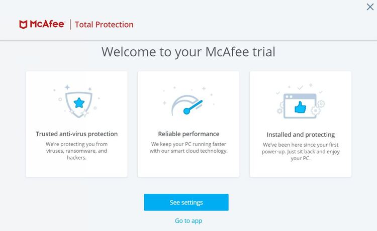 McAfee welcome screen