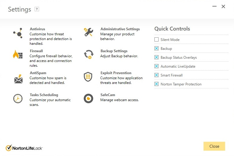 Norton settings screen
