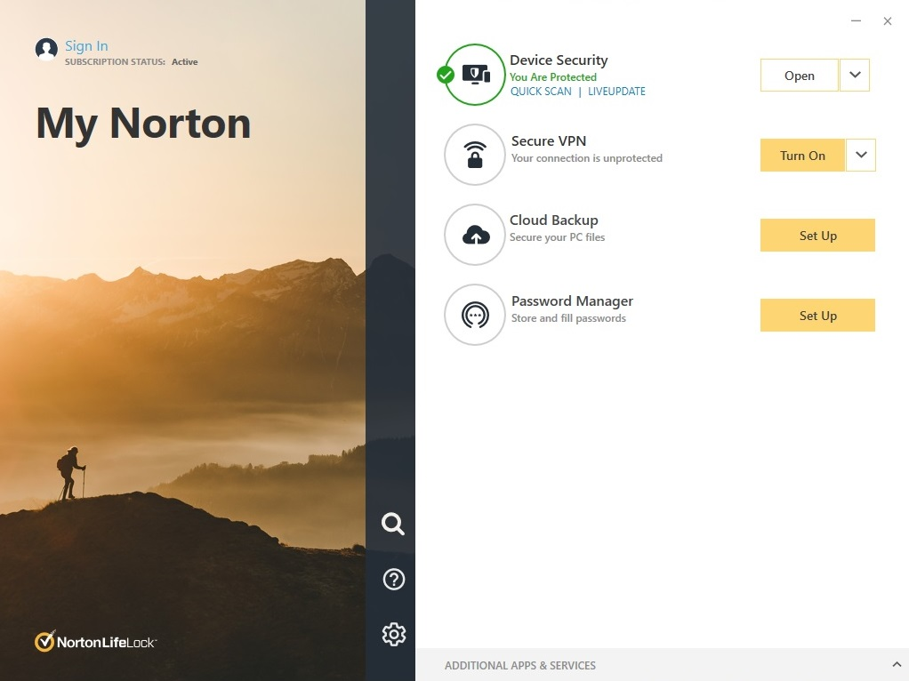 Norton antivirus main screen