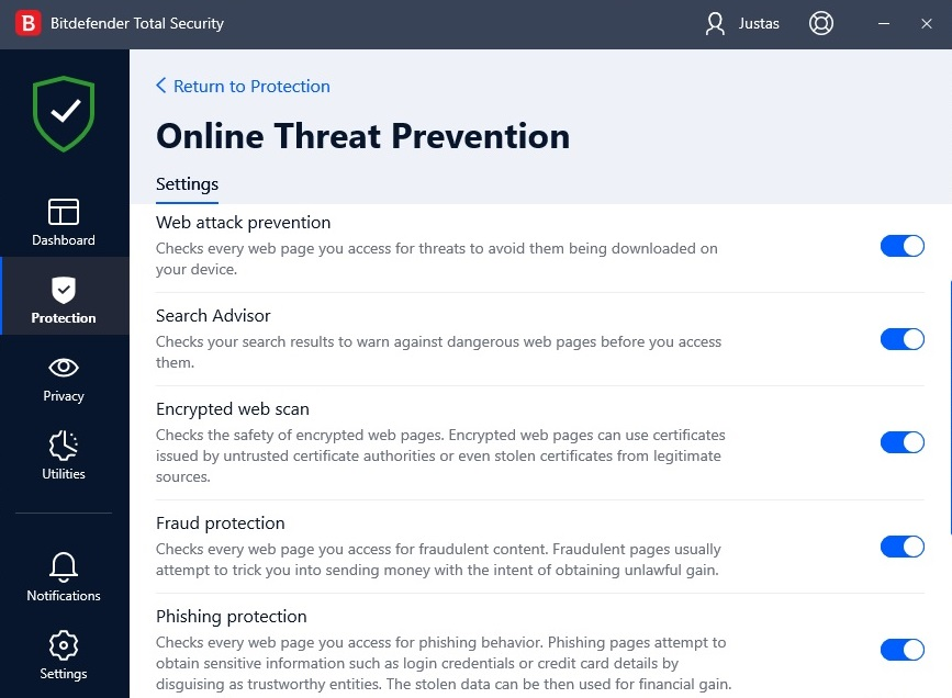 Bitdefender online threat prevention  screen