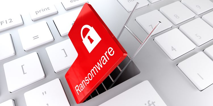 Opened red ransomware button on laptop with ladder going out