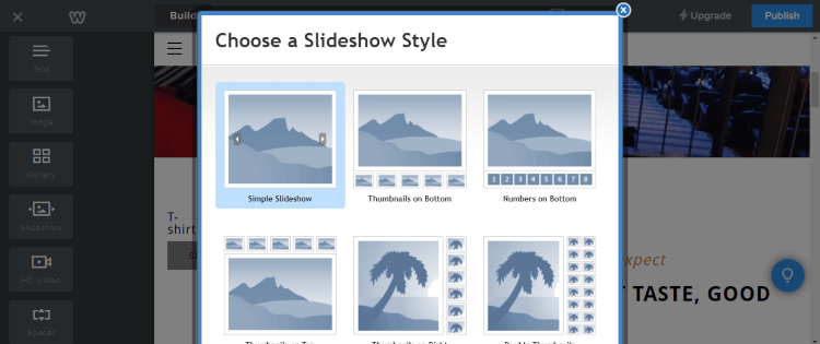 Weebly website builder Slideshow feature