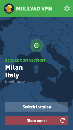 Mullvad VPN connected