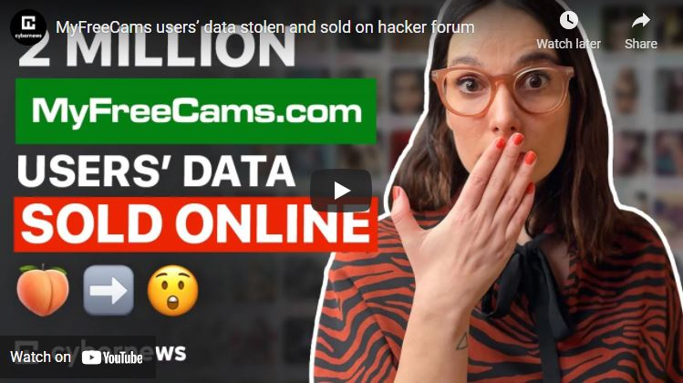 MyFreeCams users' data stolen and sold on hacker forum video screenshot