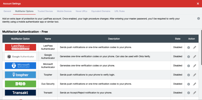 multifactor authentication options