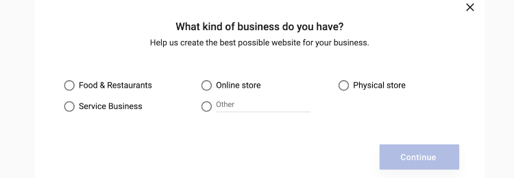 selecting business type for building website in simplesite