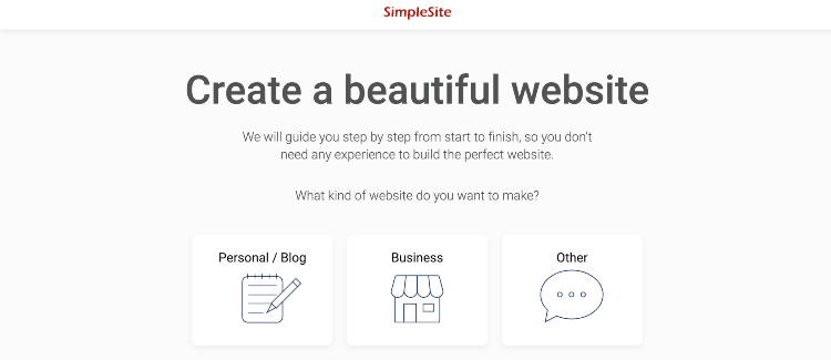 SimpleSite start page