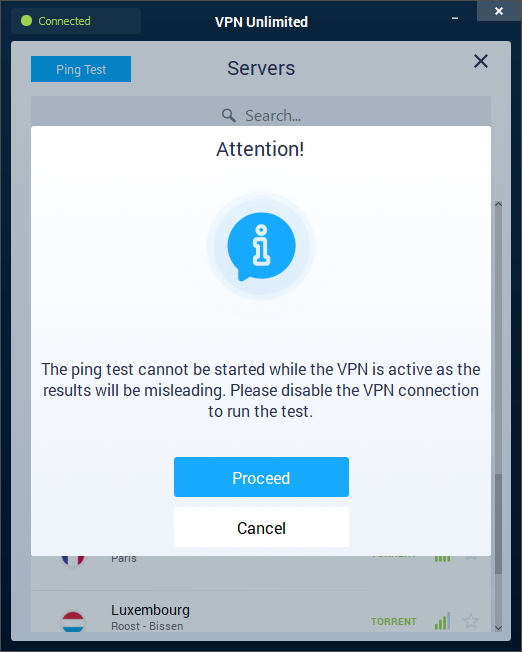 VPN Unlimited ping test