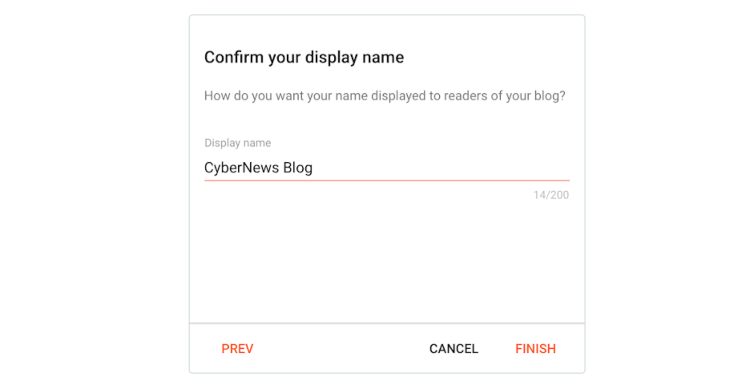 Confirm display name for blog