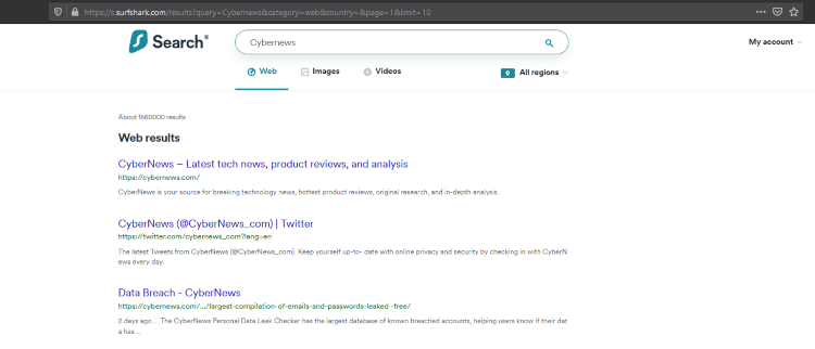 Searching for cybernews in search engine