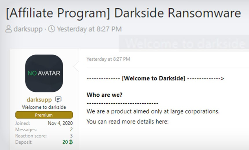 Post on hacking forum recruiting affiliates for the Darkside ransomware gang