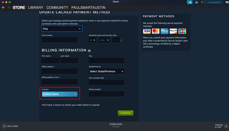 Steam payments page