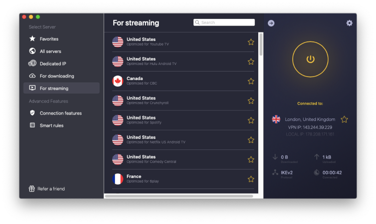 CyberGhost streaming servers screen