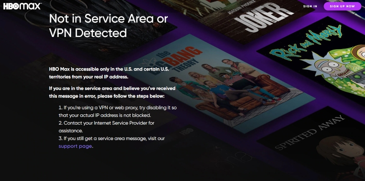 Not in Service Area or VPN Detected error on HBO Max