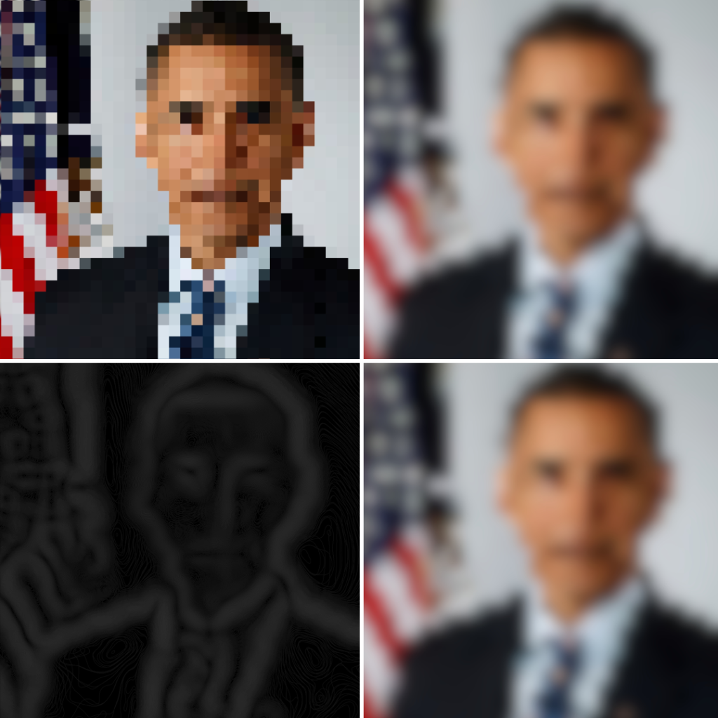 Collage of pixeled and blurred Obama profile images