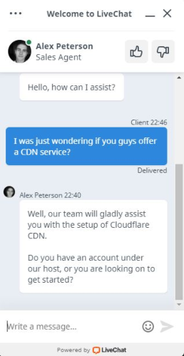Chat with TMDHosting sales agent