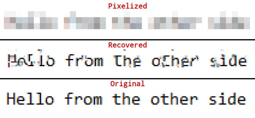 Uncovering pixelized text