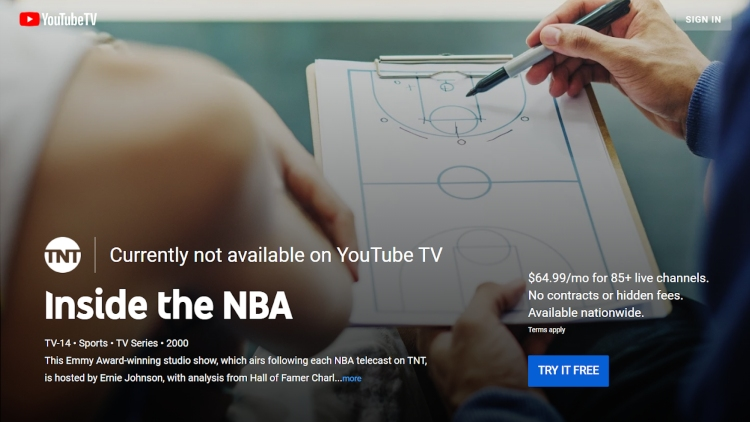 Inside the NBA currently not available on Youtube TV