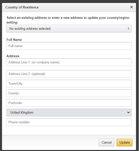 Country of Residence form on Amazon Prime Video Country/Region settings