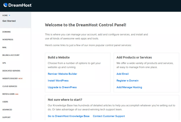 DreamHost control panel interface