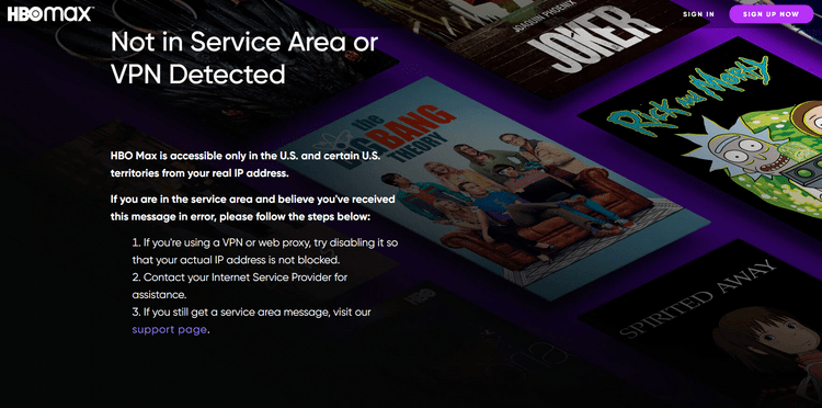 HBO Max error message - not in service area or VPN detected