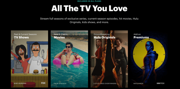 Screenshot from Hulu website