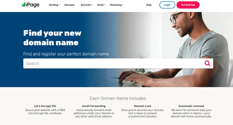 iPage Domain name services website screenshot
