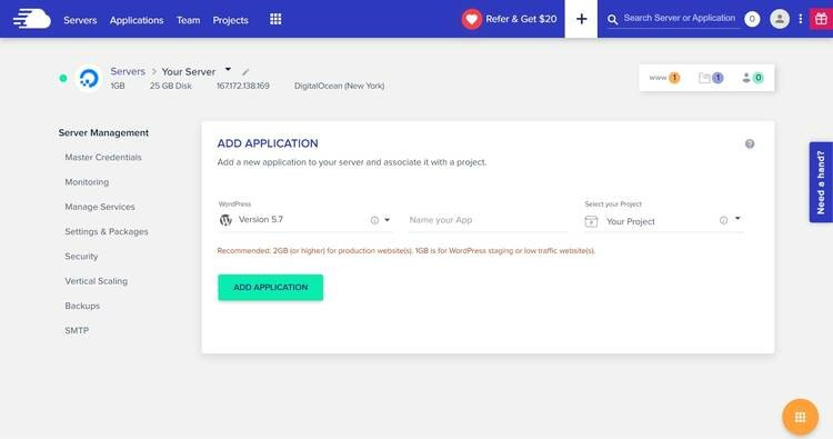 Adding new applications to Cloudways