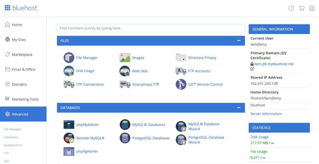 Bluehost cPanel interface